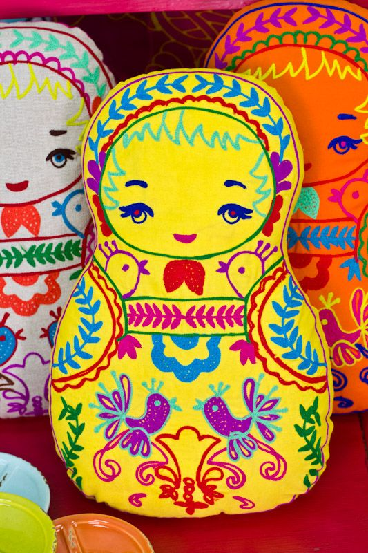 Embroidered Nesting Doll Pillows at Earthbound! It doesn't get much cuter than this. #matryoshka #homedecor #pillow