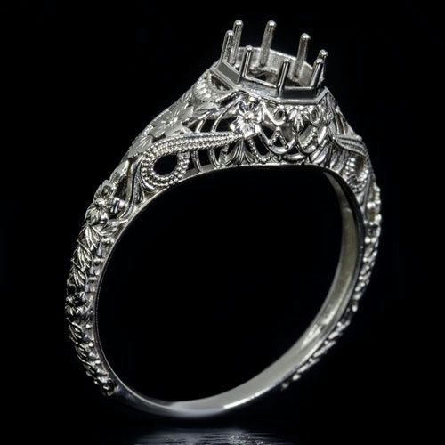Vintage Antique Art Deco Engraved Filigree Milgrain Setting 14K White Gold Handcrafted Round Engagement Ring 6mm 6422