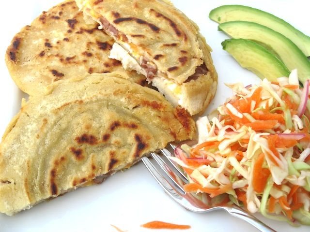 Pupusas with Curtido from El Salvador - Okay, so this isn't Guatemalan, but Guatemala is where I first tried these.  It's a favorite there from their neighbors in El Salvador.