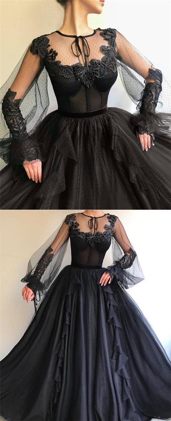 Black long aline prom dress long sleeves modest prom gown pd