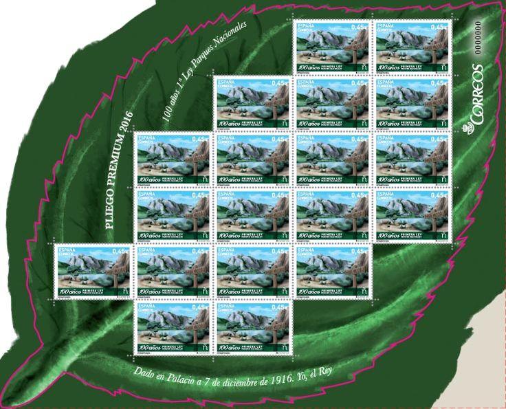 Emisión:Efemérides.100 años Primera Ley Parques Nacionales. Fecha Emisión: 05/04/2016.En junio de 1916, don Pedro Pidal, Marqués de Villaviciosa de Asturias, que había visitado algunos parques nacionales en el oeste americano, presentó en el Senado una Proposición de Ley defendiendo la creación de Parques Nacionales en España.Su propuesta fue aceptada y el 7 de diciembre de ese mismo año, el Rey Alfonso XIII sancionó la Ley de Creación de Parques Nacionales.