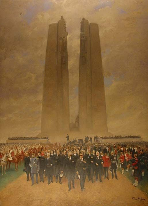 The Unveiling of the Vimy Ridge Memorial Painted by Georges Bertin Scott in 1937 This painting commemorates the unveiling of the First World War Vimy Ridge memorial in France on 26 July 1936. The events and ceremonies associated with the unveiling are collectively known as the Vimy Pilgrimage. Scott depicts King Edward VIII in the very front. Mrs Charlotte Wood, Canada's first Silver Cross Mother, can be seen towards the back. Beaverbrook Collection of War Art CWM 20020045-425