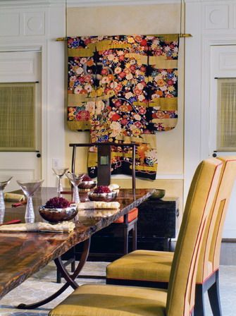 Asian Style Dining Room Details Antique Kimono