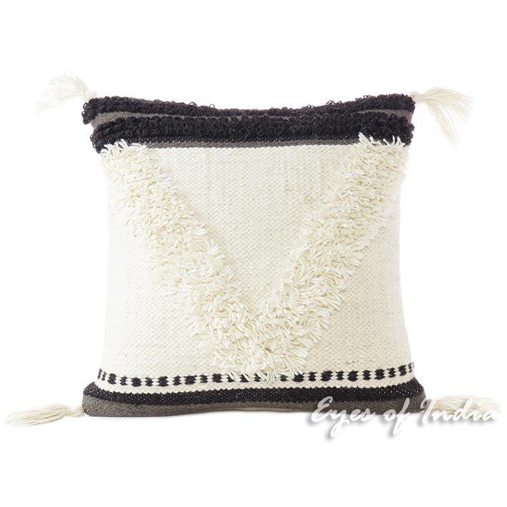 "White Black Decorative Tufted Woven Fringe Pillow Sofa Throw Tassel Cushion Cover - 20"""