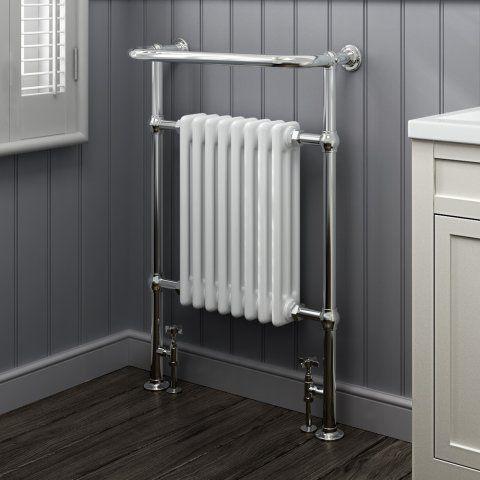 Victoria Traditional Towel Radiator in White 952mm x 659mm - soak.com