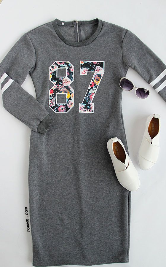 Fall Fashion - Grey Varsity Print Slit Back Zipper Sweatshirt Dress - romwe.com