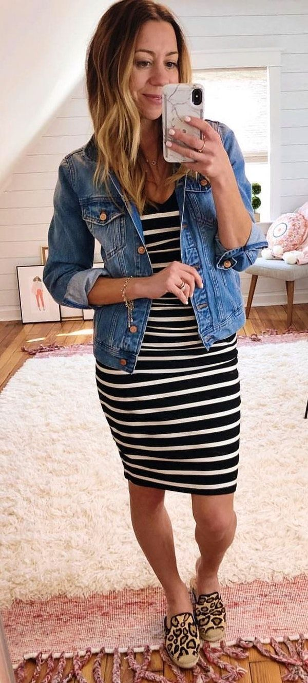 30292702cf49 #spring #outfits black-and-white striped bodycon mini dress and blue denim  button-up jacket