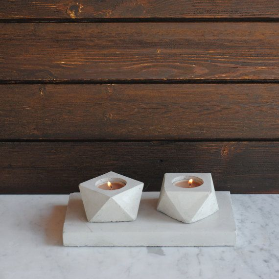 FORMA  geometric concrete tea candle holder  Set of 2 by FactoLab