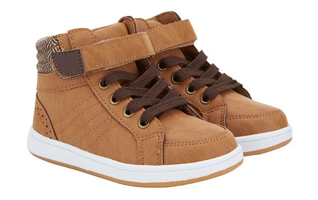 High Top Trainers - The tan finish and chevron detail on these super-cool high top trainers will make him the trendiest kid in class.