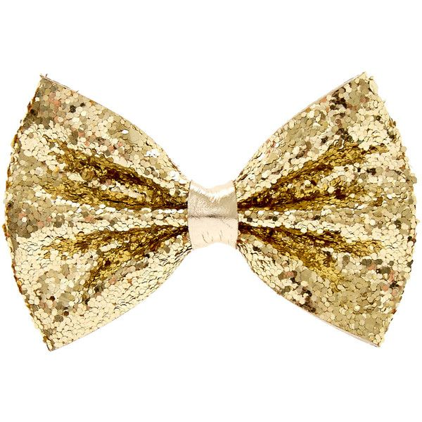 Mini Gold Glitter Bow Hair Barrette ($4) ❤ liked on Polyvore featuring accessories, hair accessories, bow hair clips, bow hair accessories, gold hair accessories, mini hair clips and glitter hair accessories