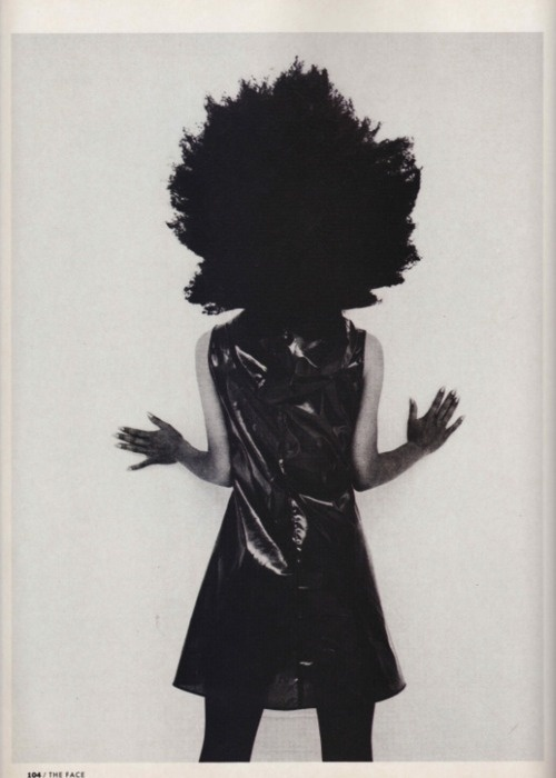 Kinky Afro, photographed by Juergen Teller and styled by Judy Blame, December 1990. Helmut Lang dress. S)