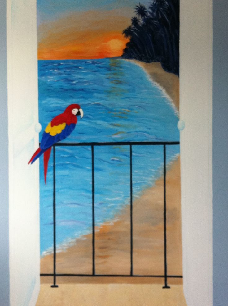 Day 5 and mural is complete with parrot and balcony doors to complete the effect.