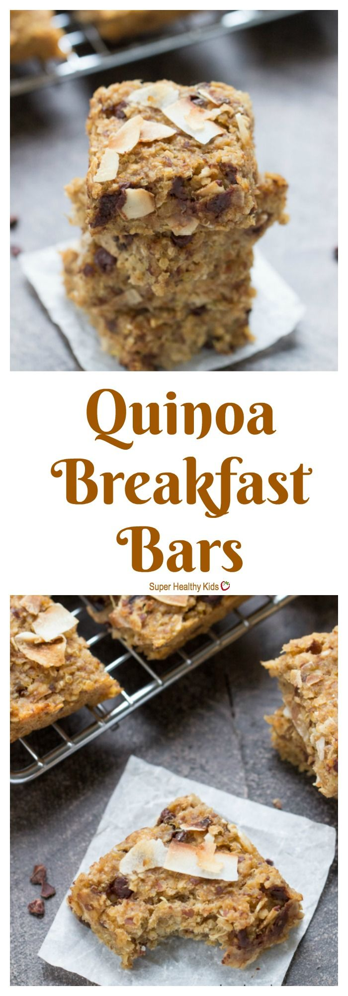 FOOD - Quinoa Breakfast Bars. These simple quinoa breakfast bars are flavored with toasted coconut and chocolate chips, making for a healthy and delicious on-the-go breakfast treat that you and your kids will love! http://www.superhealthykids.com/simple-quinoa-breakfast-bars/