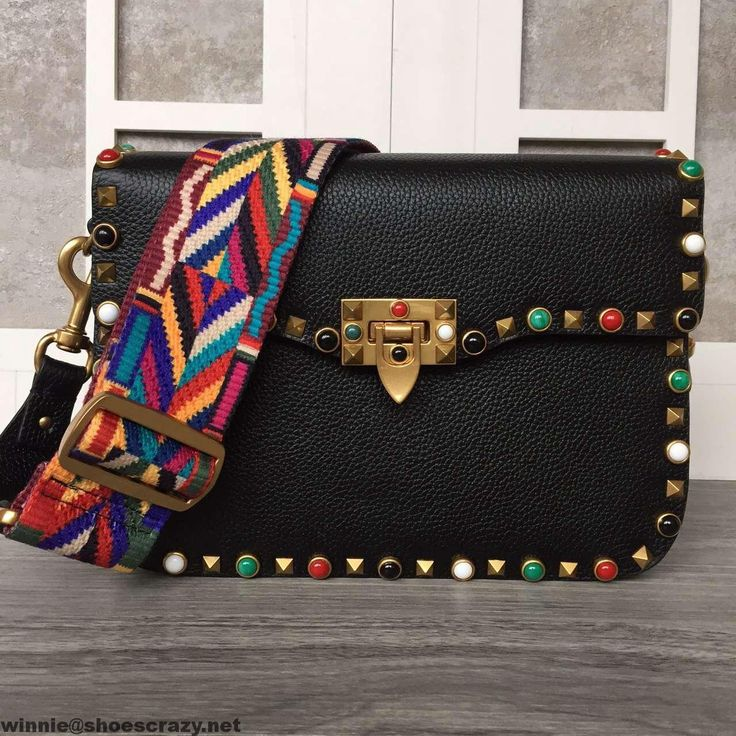 Valentino Garavani Rockstudded Rolling Cross Body Bag With Multicolor Stones 2016