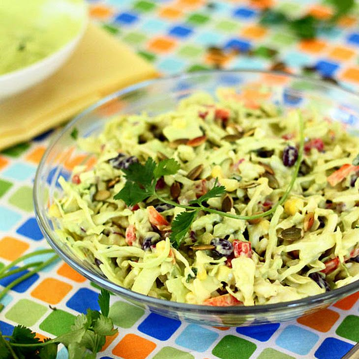Southwestern Cole Slaw with Avocado Dressing and Pepitas Recipe ...