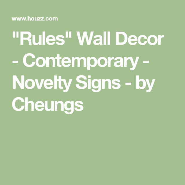 """""""Rules"""" Wall Decor - Contemporary - Novelty Signs - by Cheungs"""