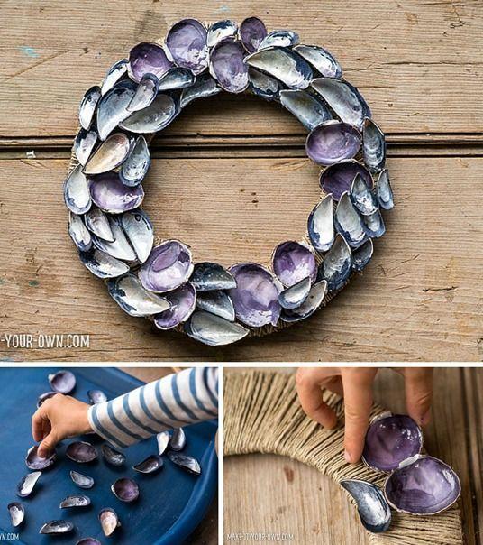 Make a beautiful kid-made seashell wreath. A fun summer craft for kids.