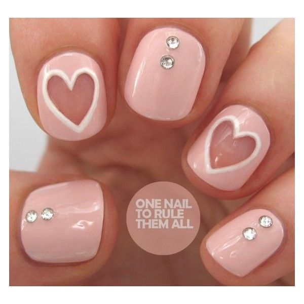 22 Sweet and Easy Valentine's Day Nail Art Ideas ❤ liked on Polyvore featuring beauty products, nail care, nail treatments and nails