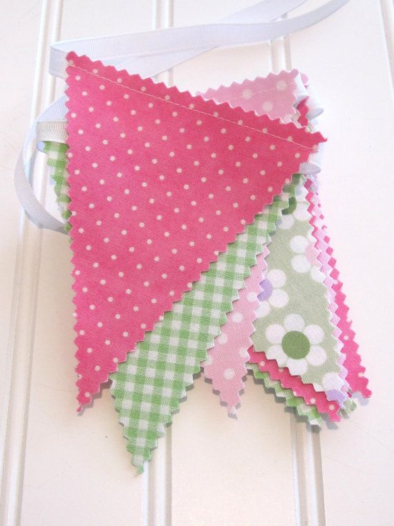Mini Bunting/Fabric Flag Banner Girls by SweetbugStudio on Etsy, $15.00