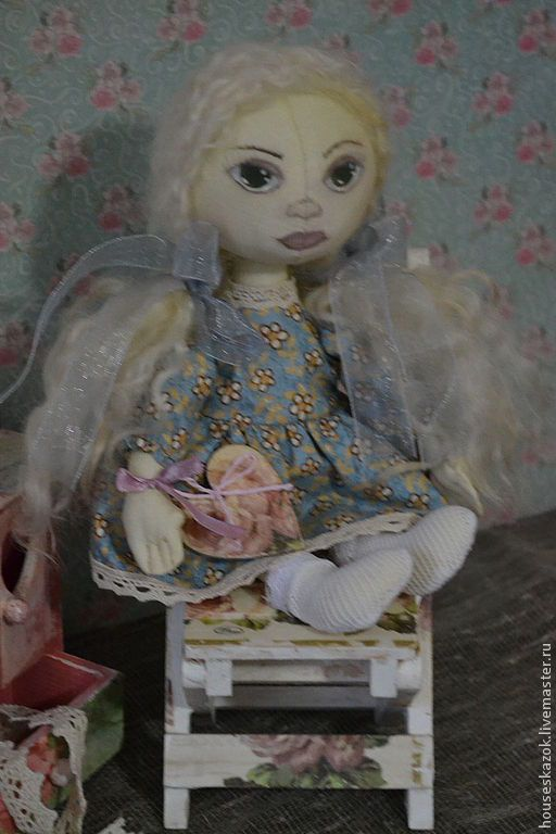 """Купить Кукла-тыквоголовка """"Стеллочка"""" - голубой, кукла ручной работы, тыквоголовка, подарок, кукла в подарок"""