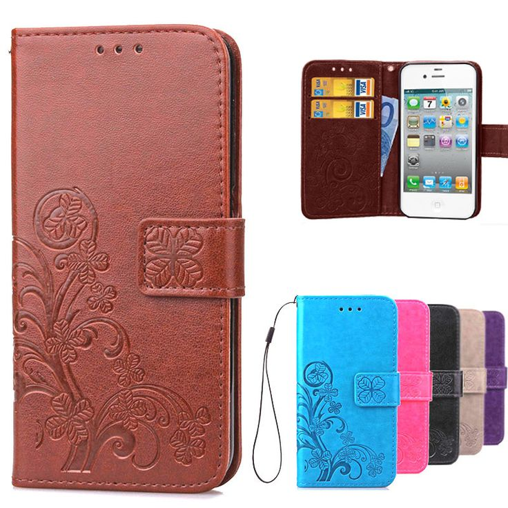 Luxury Case For IPHON 4S Book Style Wallet Leather + Silicon Flip Cover Case For iPhone 4S phone case card holder for iPhone 4
