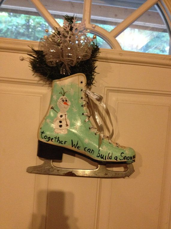 Hand Painted Ice Skate Door Decoration by MyPaintedTreasures $25