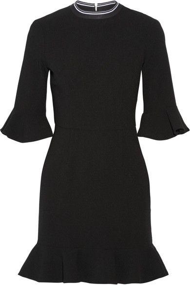 Rebecca Vallance - Billie Ruffled Stretch-crepe Mini Dress - Black - UK14