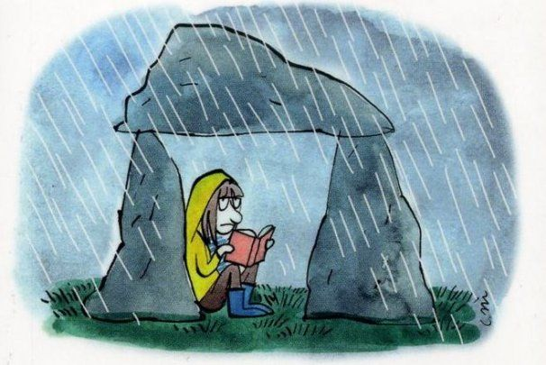 reading under a rock in the rain, from le telegramme site