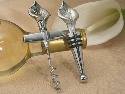 Elegant Chrome Calla Lily Wine Opener, Wine Stopper Set C1435 Quantity of 1 by Cassiani. $6.20. The Calla lily has become a classic wedding flower, and these wine opener and stopper favors are the. Wedding Day Accessory. Bridal Shower Gift. Personalization NOT included unless stated otherwise. Exquisite Wedding Accessories. The calla lily has become a classic wedding flower, and these wine opener and stopper favors are the perfect compliment. each elegant soli...