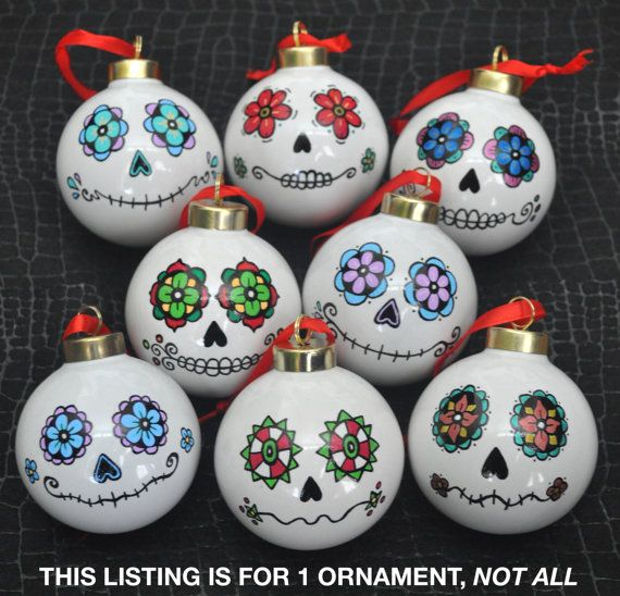 Day of the Dead/Sugar Skull Porcelain Ball Ornament by ARTholomew https://LaurenKety.Scentsy.us #LaurenKetysScentsySpecials