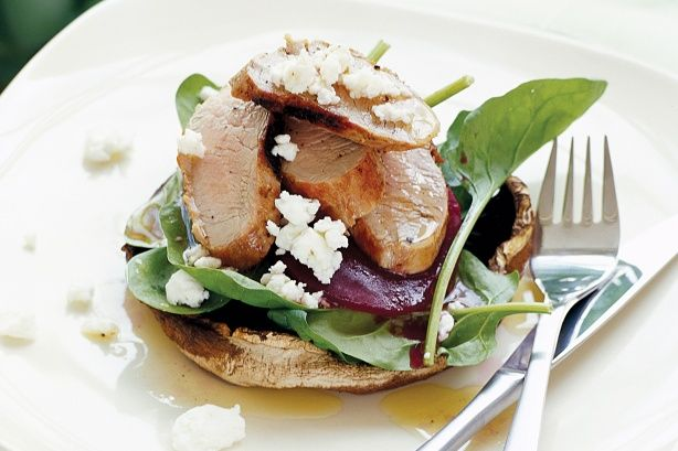 Pork, mushroom and beetroot stacks