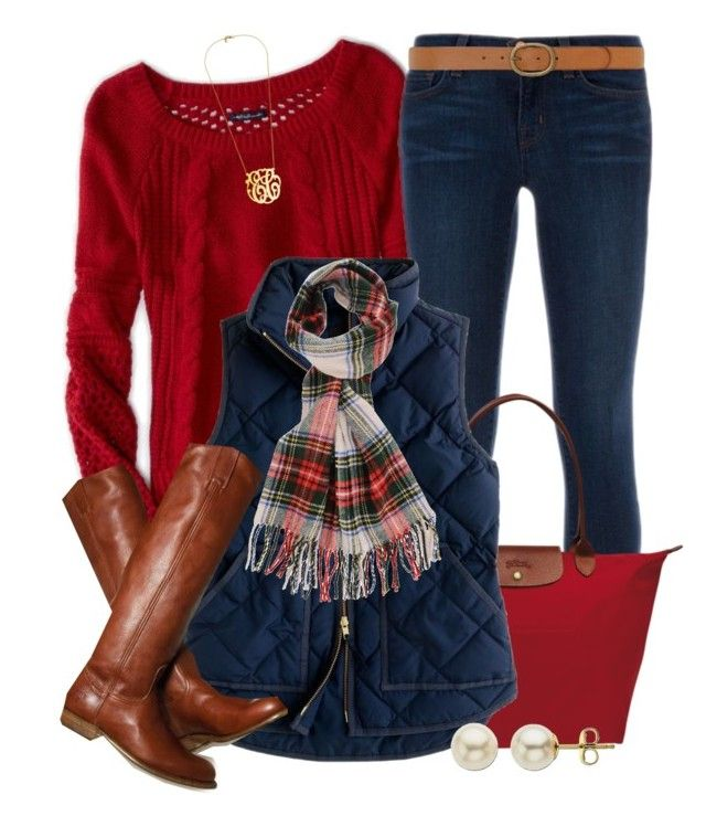"""""""On Wednesdays We Wear Red"""" by qtpiekelso ❤ liked on Polyvore featuring American Eagle Outfitters, J Brand, Longchamp, J.Crew, Forever 21, Lord & Taylor and Dorothy Perkins"""