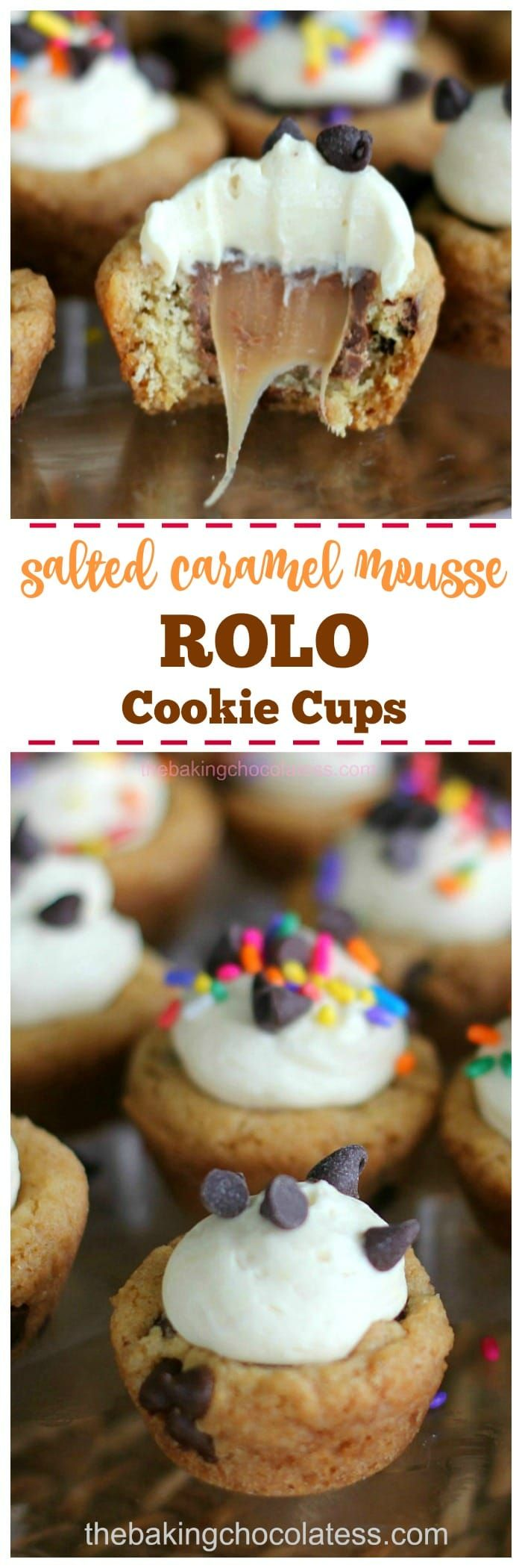 Salted Caramel Mousse ROLO Cookie Cups - Who could resist these little gooey cookie cups loaded with mini chocolate chips, ROLOs and a fluffy caramel mousse filling? Not I!