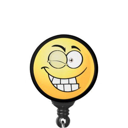 Winking Emoji Name Badge Holder - image gifts your image here cyo personalize