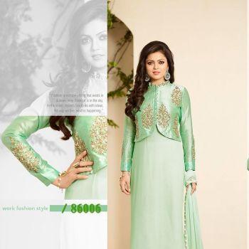 Lightgreen Wedding Wear Embroidered Salwar Suit