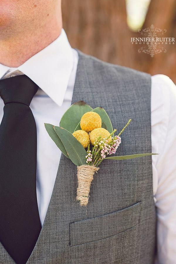 Craspedia Buttonhole created by Lovely Bridal Blooms