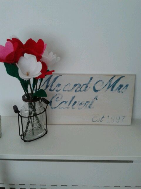 hand made Mr and Mrs sign and felt flowers