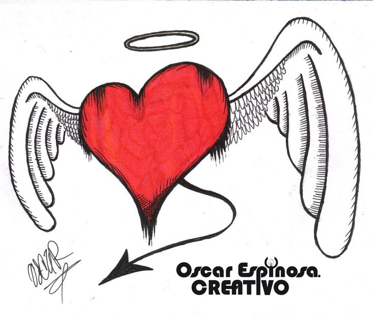 Dibujos A Lapiz De Corazones Con Alas | aida santiago | Pinterest
