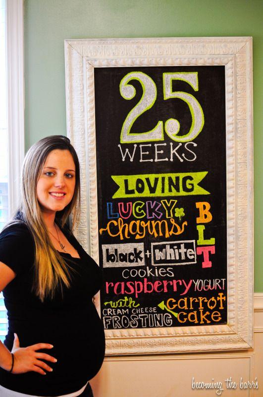 25 weeks pregnant chalkboard tracker, 25 weeks littlebabygarvin inspired chalkboard, littlebabygarvin chalkboard drawings inspiration