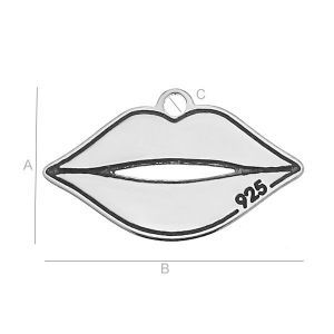 SILVER MOUTH PENDANT LK-0079 (0,40 MM) SIZE:A=12,60 mm, B=20,60 mm, C=1,40 mm, sterling silver (AG-925)  Available options: AG 925 (18K- Rose Gold Plated) AG 925 (24K- Gold Plated) AG925 ( BRH- Black Rhodium Plated) AG 925 (RH- Rhodium Plated)
