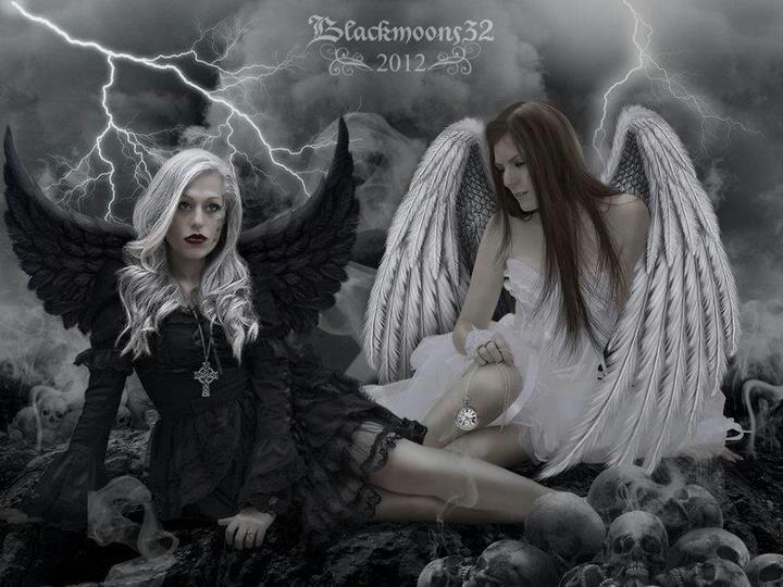 Anime Wallpaper Goddess Girl With Black And White Hair Dark And Light Angel Fantasy Art Gothic Fairy Angels