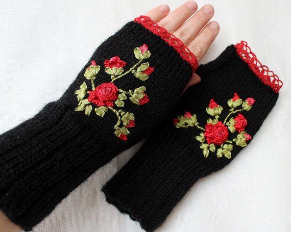 Knitted Fingerless GlovesRose Black Fall by nbGlovesAndMittens