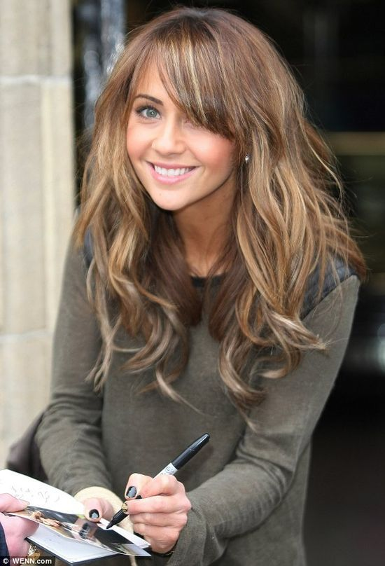 Bangs Light brown hair with blonde highlights