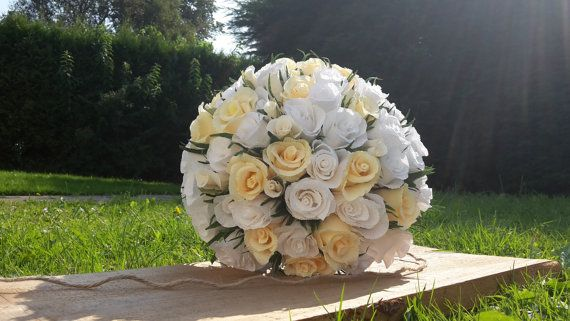 White Ivory Bride Wedding Bouquet Crepe paper by moniaflowers