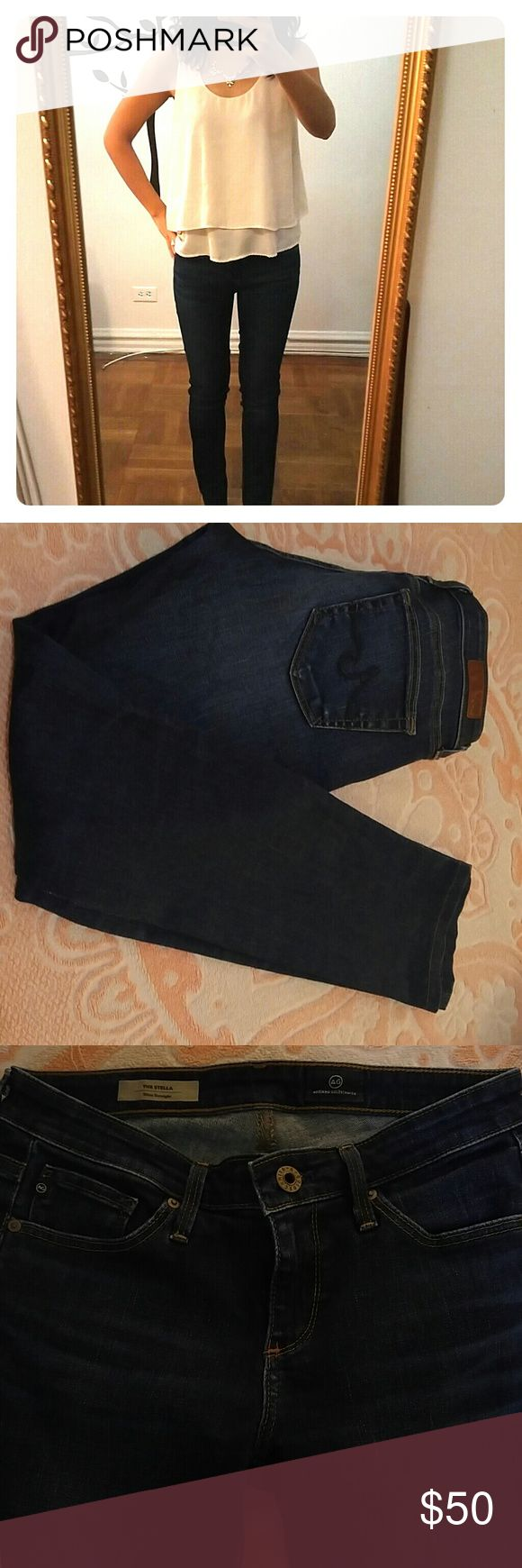 """AG """"the Stella"""" jeans in dark blue Super comfy dark blue Slim straight jeans with great stretch. Hemmed to fit petite size (I'm 5 foot 2). Great condition. AG Adriano Goldschmied Jeans Straight Leg"""