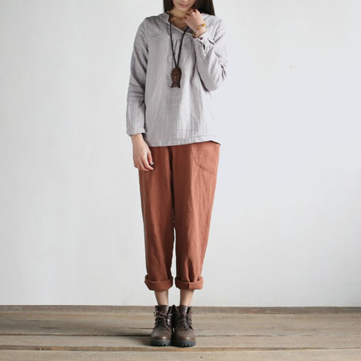 Cotton linen casual loose trousers turnip pants   #pants #linen #loosepants #dress #linendress