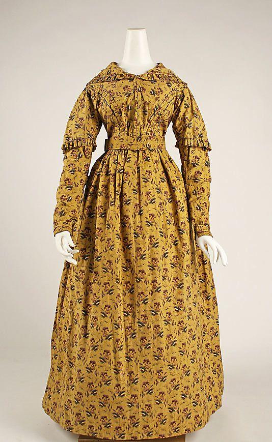 c. 1840 dress, British. Cotton. The Met, 1984.436: 1840S1850S Dresses, 1840 S, Historical Clothing, Dresses 1840, 1840S Fashion, 1840 Dresses, 1840S Clothing, Metropolitan Museums, Vintage Clothing