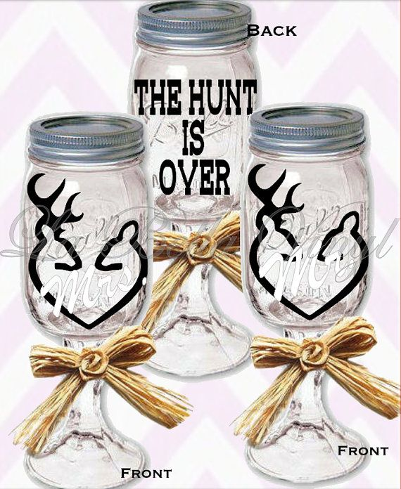 The hunt is over set of mason jar wine glasses by labellavinyl wedding pinterest - Mason jar goblets ...