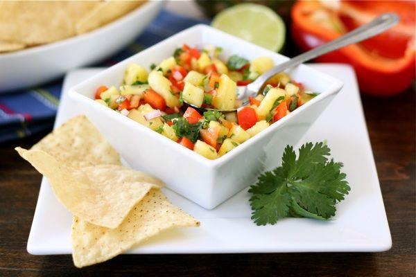 pineapple-salsa. Ingredients: pineapple, red pepper, cilantro, red onion, jalapeno, garlic, lime juice, salt