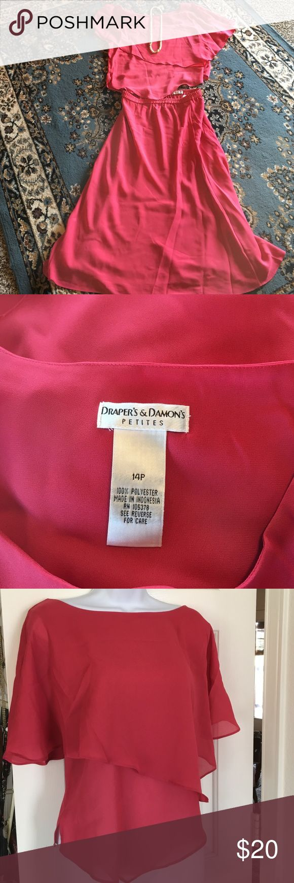 Skirt Suit Sz 14 P 2 price Skirt Set - in good condition- floating top with batwing sleeves- boatneck top, Skirt has full elastic waist measurement from waist to hem 33 inches, Perfect for any upcoming Spring functions 🌺 Color is a soft Salmon Draper's & Damon's Petites Skirts Skirt Sets
